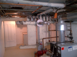 basement with asbestos fibres